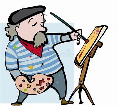Cartoon Artist Easel Sketch