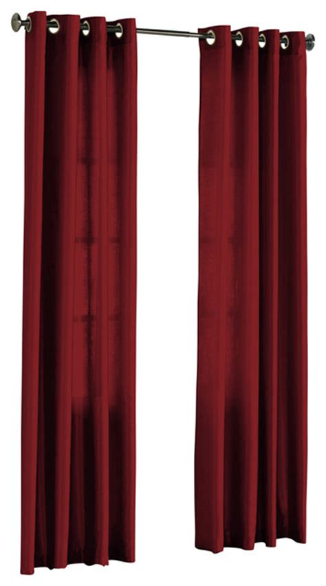 hlc me pair of faux silk grommet curtain panels burgundy