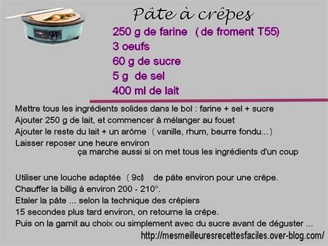 recette pat a crepe crepe recette