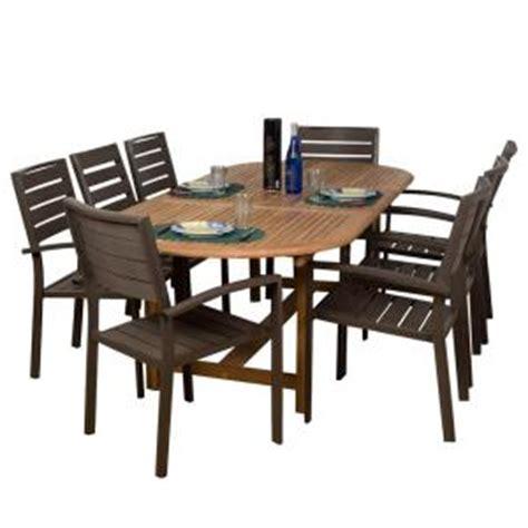 amazonia ancara 9 teak faux wood patio dining set