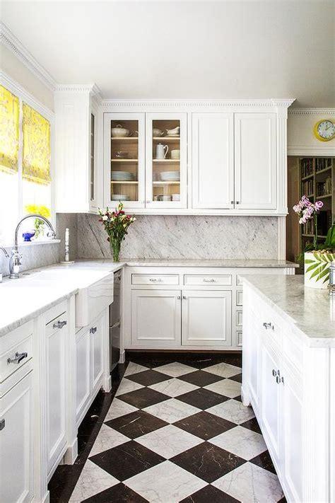 white  black harlequin kitchen floors transitional kitchen