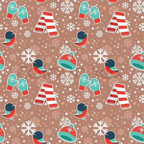 winter seamless pattern with warm clothes and bullfinch birds on snowflakes background