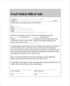 Sle Of A Bill Of Sale For An Automobile by Doc 512742 Car Bill Of Sale Template Free Bill Of Sale