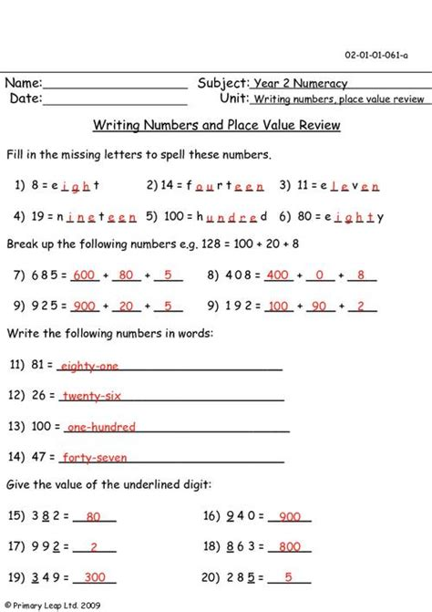 writing numbers and place value review primaryleap co uk