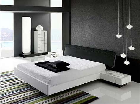 Minimalist Modern Bedroom For Men With Black Wallpaper