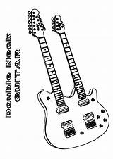 Guitar Coloring Rock Momjunction Colouring Neck Double sketch template