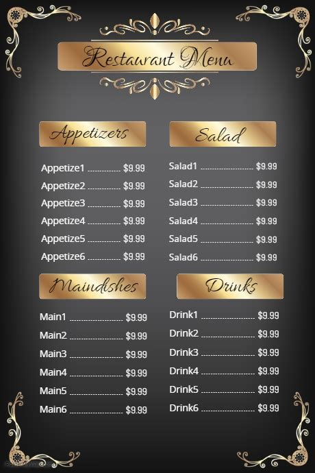 elegant restaurant menu template postermywall