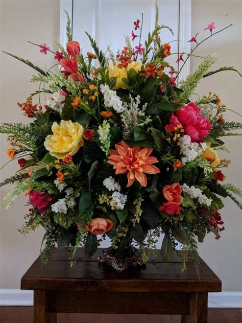 extra large floral arrangement bright colors dining