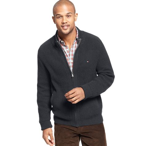 hilfiger sweater hilfiger porter zip sweater in gray for lyst
