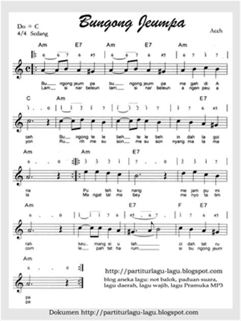 lirik sirih kuning 10 lagu daerah dengan not angka dan not balok karentu