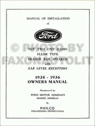 ford radio owners manual  installation book
