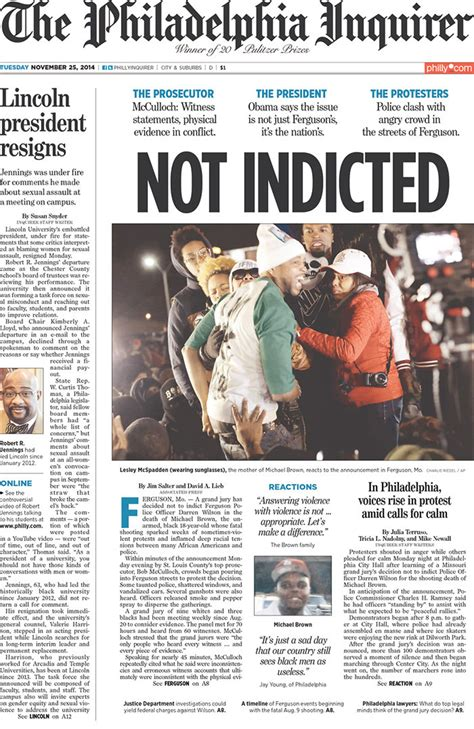 heres   newspaper front pages  covering ferguson