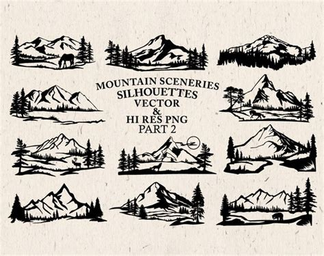 Mountain Scenery Svg Cut Files Mountain Scenery Silhouette