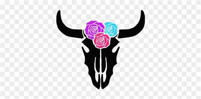 Cow Svg Face Skull Flowers Silhouette Clipart