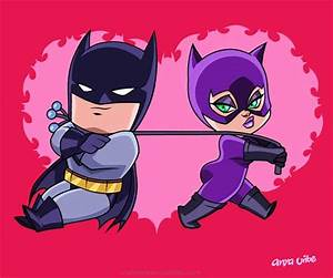 "Aw, so cute! Batman and Catwoman Chibis ""Bat Romance"" in ..."