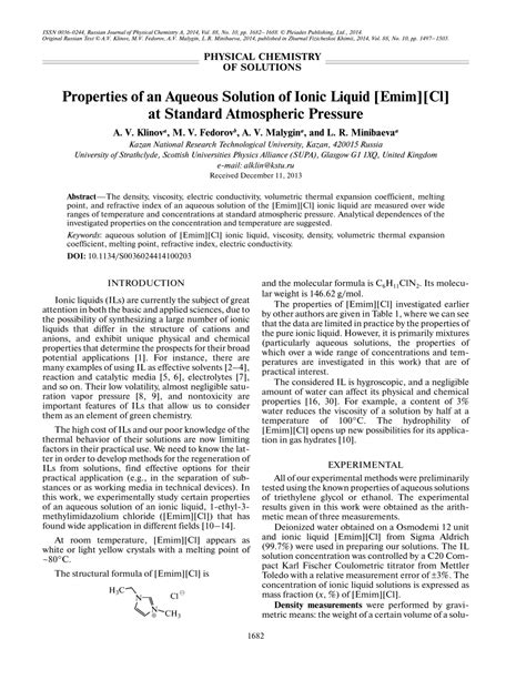 (PDF) Properties of an aqueous solution of ionic liquid