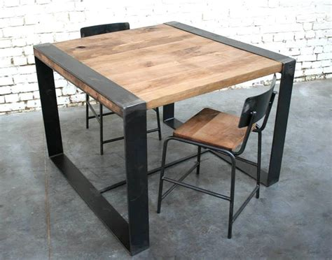 table bois industriel table en bois et metal maison design wiblia