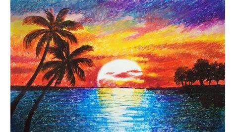 landscape drawing  beginners  oil pastels scenery