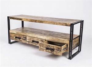Möbel Im Industriedesign : wandkonsole tv lowboard aus massivholz im industriedesign mit 3 schubladen sideboards ~ Orissabook.com Haus und Dekorationen