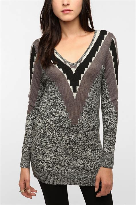 pattern v neck sweater soft and stretchy v back sweater from silence