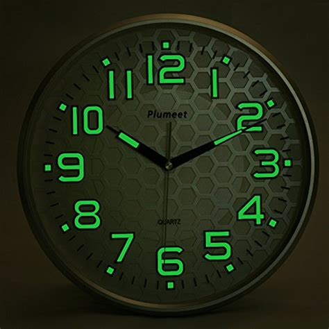 light function plumeet 13 inch wall clock with silent non ticking lights for indoor