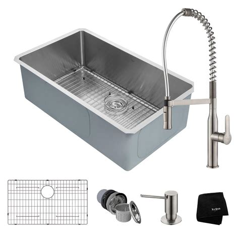 undermount stainless sinks kitchen sinks kraus handmade all in one undermount stainless steel 32 in 8737