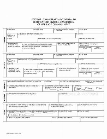 Annulment Marriage Divorce Utah Dissolution Certification Form