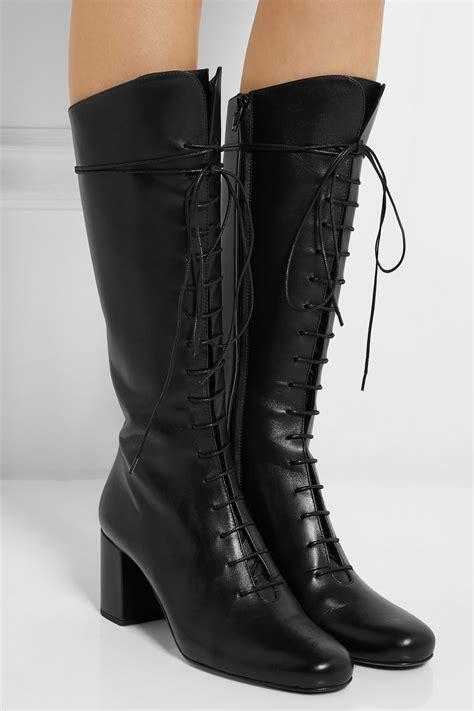 saint laurent lace  leather knee boots  black lyst