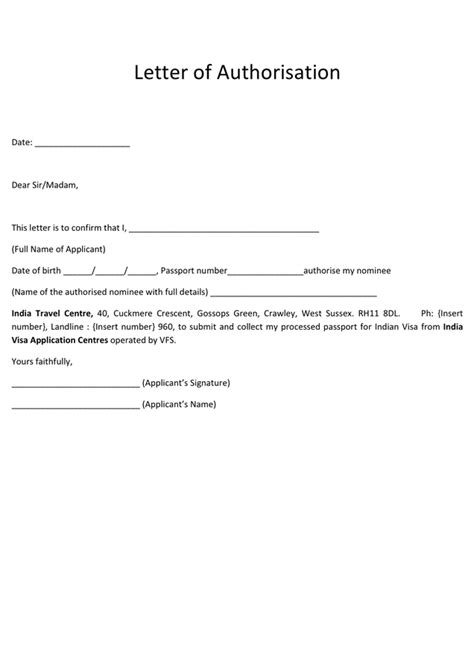 Visa letter of authorization form in Word and Pdf formats