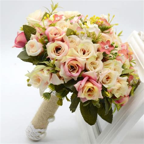 artificial cheap bridesmaid wedding bouquets pink beach