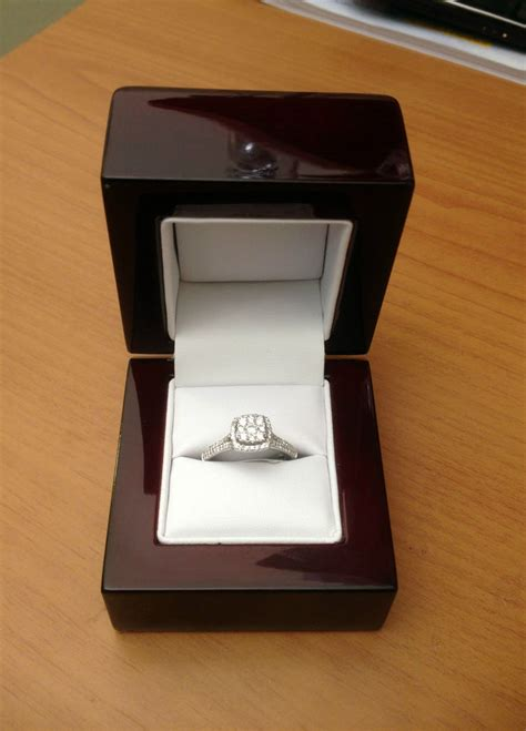 cherry wood off white leather engagement ring box great