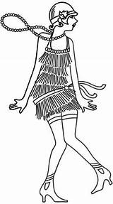 Flapper Coloring 1920s Urban Embroidery Rockabilly Retro Threads Roaring 20s Urbanthreads Awesome Unique Subcultures Styles Machine Pattern sketch template
