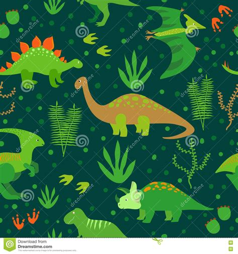 cute dinosaurs seamless pattern stock vector image