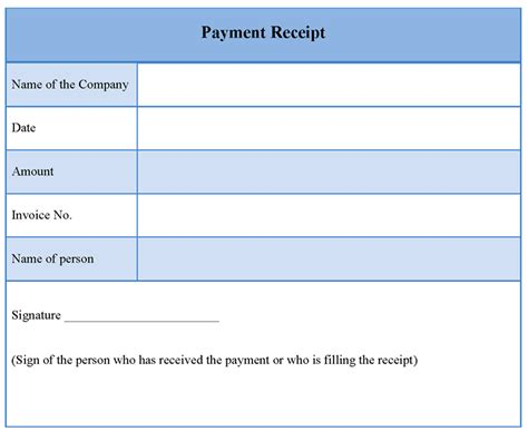 Blank Receipt Form Example