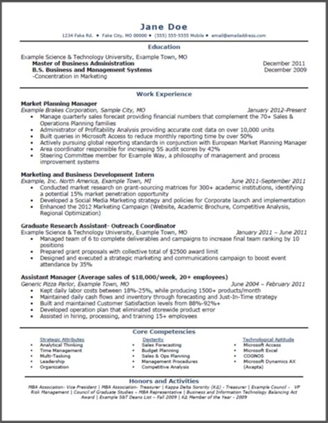 sle mba marketing resume marketing mba degree