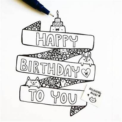 Birthday Happy Drawing Card Cards Drawings Doodle