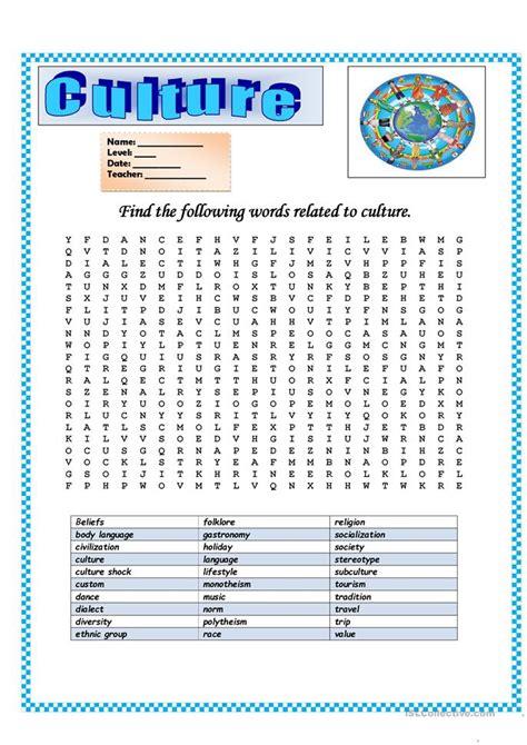 Wordsearch Culture Worksheet  Free Esl Printable Worksheets Made By Teachers