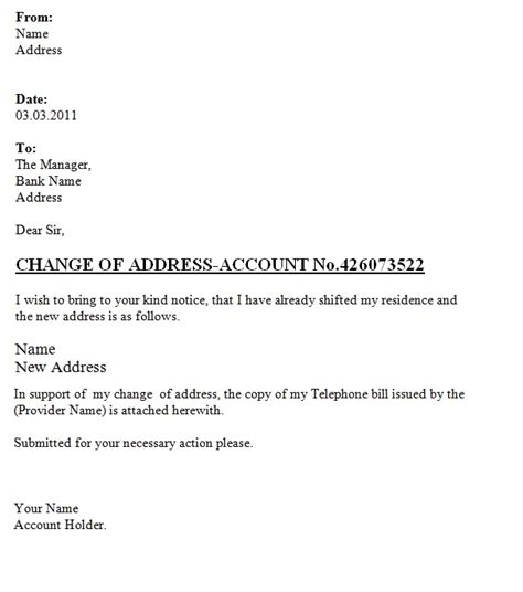 change  address letter   bank template sample