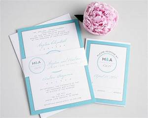modern blue wedding invites with a circle monogram With circle box wedding invitations