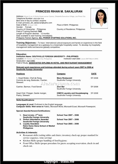 Hotel Industry Resume Format by Unique Resume For Hotelier Sle Resume Format For Hotel