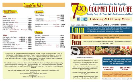 Catering Menu for Baltimore, Columbia & Annapolis, MD