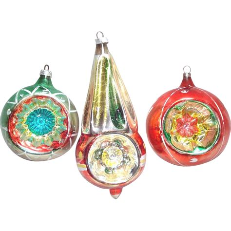 colorful west germany indent glass christmas ornaments
