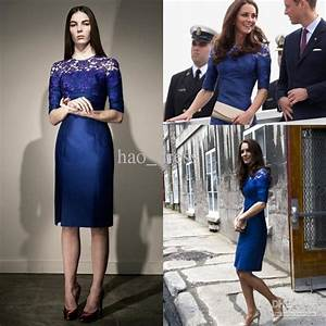 2012 Kate Middleton Blue Column Taffeta Lace Knee length ...
