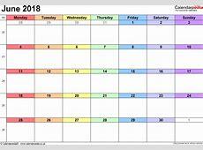 June 2018 Calendar Template 2018 yearly calendar