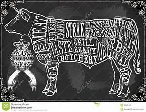 Vintage Blackboard Cut Of Beef