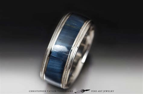 stainless steel band  hawks eye inlay christopher