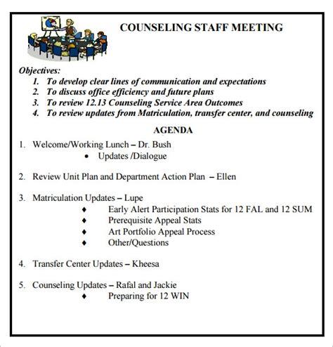 staff meeting agenda samples
