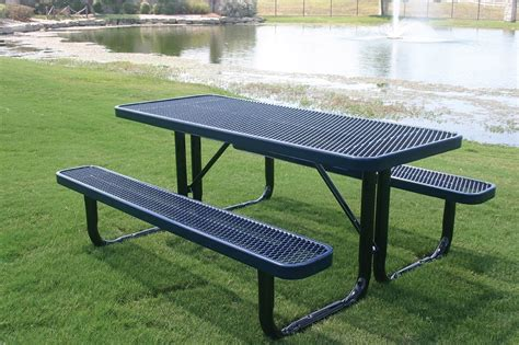 picnic table with umbrella hole furniture precise metal picnic tables with green grass