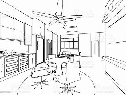 Perspective Drawing Interior Outline Sketch Architecture Plan