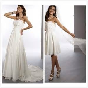 New 2014 Free Shipping Chiffon Strapless Sheath 2 in 1 Wedding Dress with Convertible Skirt
